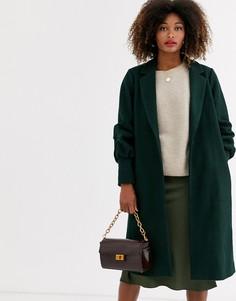 Пальто с добавлением шерсти и присборенными манжетами Unique21-Зеленый