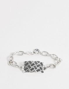 Серебристый браслет-цепочка с крупными звеньями и солдатским жетоном WFTW-Серебряный