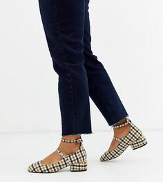 Туфли в клетку на каблуке для широкой стопы ASOS DESIGN-Мульти