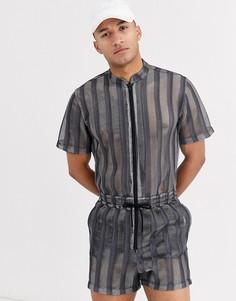Прозрачный сетчатый комбинезон-шорты в полоску ASOS DESIGN-Черный