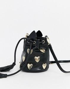 Сумка-мешок с металлическими аппликациями в форме сердца Sacred Hawk-Черный