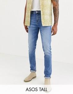Синие выбеленные джинсы скинни плотностью 12,5 унции ASOS DESIGN Tall-Синий