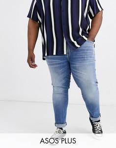 Синие выбеленные джинсы скинни из денима плотностью 12,5 унции ASOS DESIGN Plus-Синий