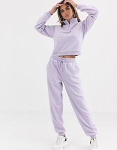 Флисовый спортивный костюм со свитшотом и базовыми джоггерами ASOS DESIGN-Фиолетовый