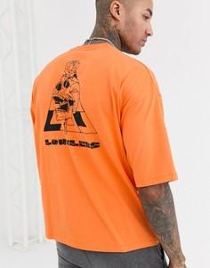 Свободная футболка с крупным цветочным принтом ASOS DESIGN-Оранжевый
