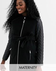 Пальто на молнии со стегаными рукавами Mamalicious-Черный Mama.Licious