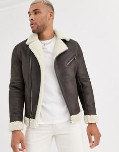 Коричневая куртка авиатор с искусственным мехом Bershka-Коричневый