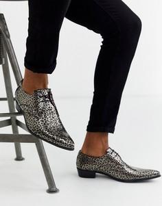 Кожаные туфли со звериным принтом Jeffery West Adamant-Черный