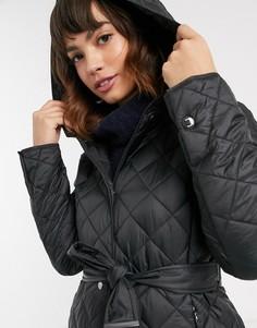 Черное стеганое пальто с капюшоном Esprit-Черный