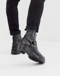 Черные кожаные ботинки челси на массивной подошве с ремешками ASOS DESIGN-Черный