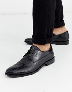 Черные туфли с крокодиловой отделкой и шнуровкой Dune-Черный