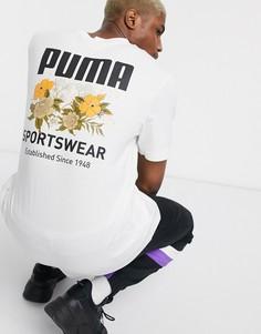 Футболка с цветочным принтом на спине Puma-Белый