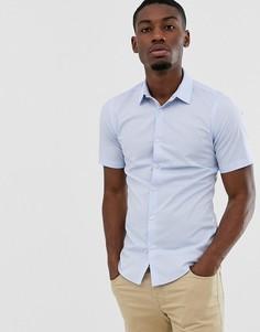 Однотонная эластичная рубашка с короткими рукавами French Connection-Синий