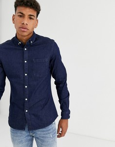 Приталенная джинсовая рубашка из органического хлопка ASOS DESIGN-Синий