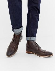 Коричневые кожаные ботинки броги ASOS DESIGN-Коричневый