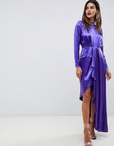 Мягкое асимметричное коктейльное платье ASOS EDITION-Фиолетовый