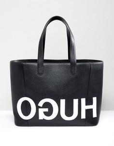 Сумка-тоут с фактурным логотипом Hugo-Черный