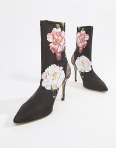 Туфли на каблуке с цветочным принтом Ted Baker-Черный