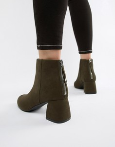 Ботинки из искусственной замши на каблуке Pieces-Зеленый