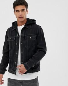 Черная джинсовая куртка с трикотажным капюшоном ASOS DESIGN-Черный