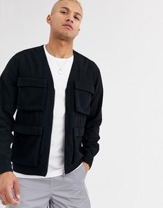 Черная джинсовая рубашка свободного кроя на молнии ASOS DESIGN-Черный