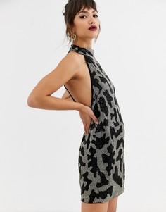 Платье мини с отделкой бисером и звериным принтом ASOS EDITION-Синий