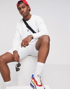 Белый спортивный костюм в рубчик с шортами ASOS DESIGN