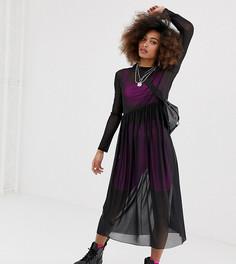 Сетчатое свободное платье черного цвета COLLUSION-Черный