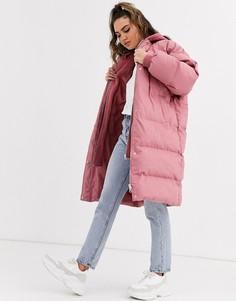Розовое длинное дутое пальто с трикотажным капюшоном Missguided-Розовый