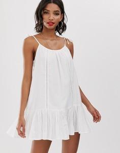 Белое пляжное платье с кружевными вставками Accessorize-Белый
