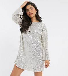 Платье мини с длинными рукавами и пайетками ASOS DESIGN Petite-Серебряный