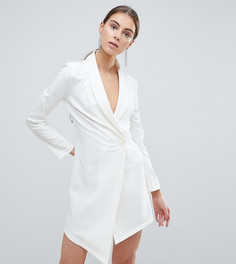 Платье-блейзер с асимметричным краем John Zack Tall-Белый