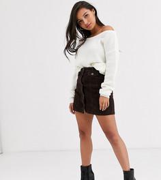 Вельветовая мини-юбка шоколадного цвета Vero Moda Petite-Коричневый