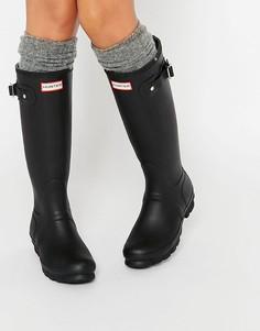 Черные резиновые сапоги с регулируемым ремешком Hunter Original-Черный