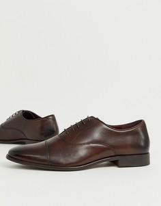 Коричневые кожаные оксфордские туфли с отделкой на носке WALK London alfie-Коричневый