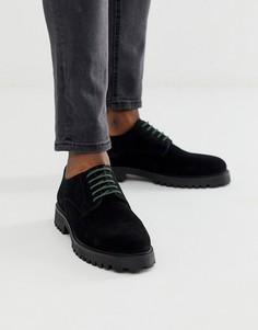 Черные замшевые туфли дерби WALK London sean-Черный