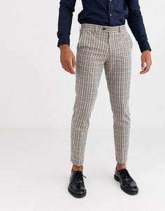 Коричневые узкие брюки в винтажную клетку Jack & Jones Premium-Коричневый