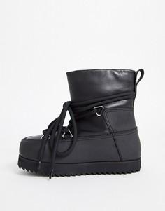 Черные зимние ботинки на шнуровке & Other Stories-Черный