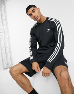 Черный лонгслив с 3 полосками adidas Originals