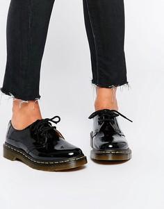 Черные лакированные туфли на плоской подошве Dr Martens 1461-Черный