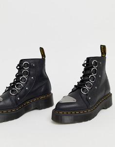 Черные кожаные ботинки с толстой подошвой и ленточной шнуровкой Dr Martens Farylle-Черный