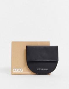 Черная полукруглая кожаная визитница с карманом для монет ASOS DESIGN-Черный