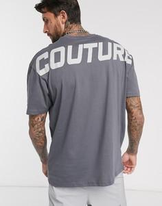 Серая oversize-футболка с принтом The Couture Club-Серый