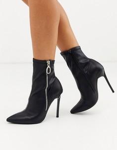 Черные остроносые ботинки на каблуке-шпильке London Rebel-Черный