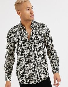 Вискозная рубашка с зебровым принтом и длинными рукавами Devils Advocate-Черный
