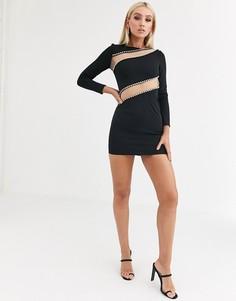 Облегающее платье мини с длинными рукавами, сетчатыми вставками и стразами ASOS DESIGN-Черный
