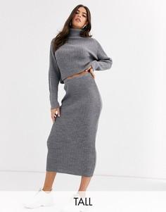 Серая трикотажная юбка мидакси от комплекта Missguided Tall-Серый