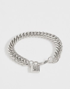 Серебристый массивный браслет-цепочка с подвеской в виде замка ASOS DESIGN-Серебряный
