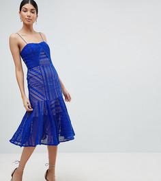 Кружевное платье миди на бретелях Jarlo Tall-Синий