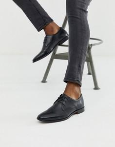 Черные кожаные туфли дерби WALK London alfie-Черный